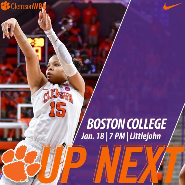 Clemson Hosts Boston College Thursday
