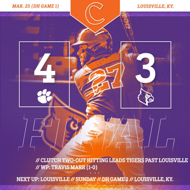 Clemson Edges No. 11 Cardinals 4-3 in Game 1 of DH