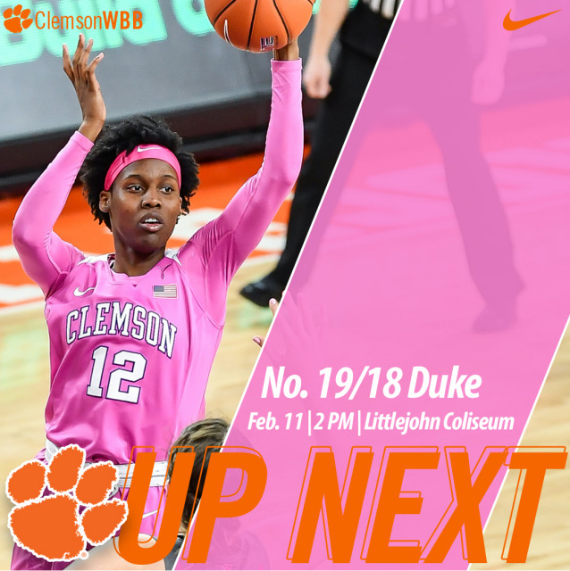 Tigers Host No. 19/18 Duke in #Play4Kay Game Sunday at Littlejohn