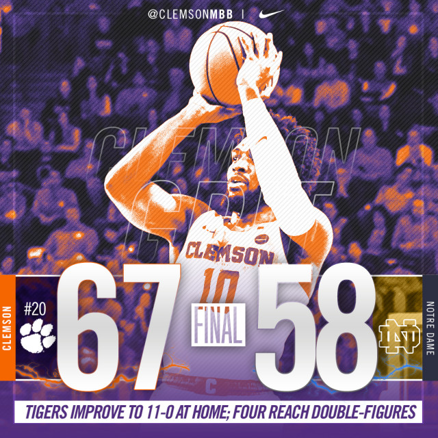 No. 20 Tigers Earn Gritty Win over Notre Dame, 67-58