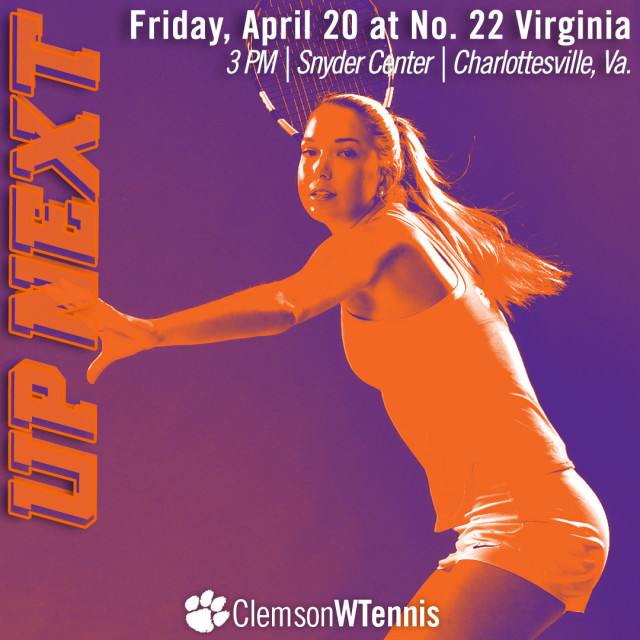 Clemson Travels to No. 22 Virginia Friday, No. 3 Georgia Tech Sunday