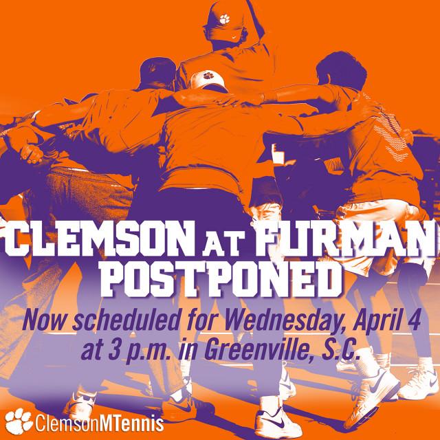 Clemson at Furman Men's Tennis Match Postponed