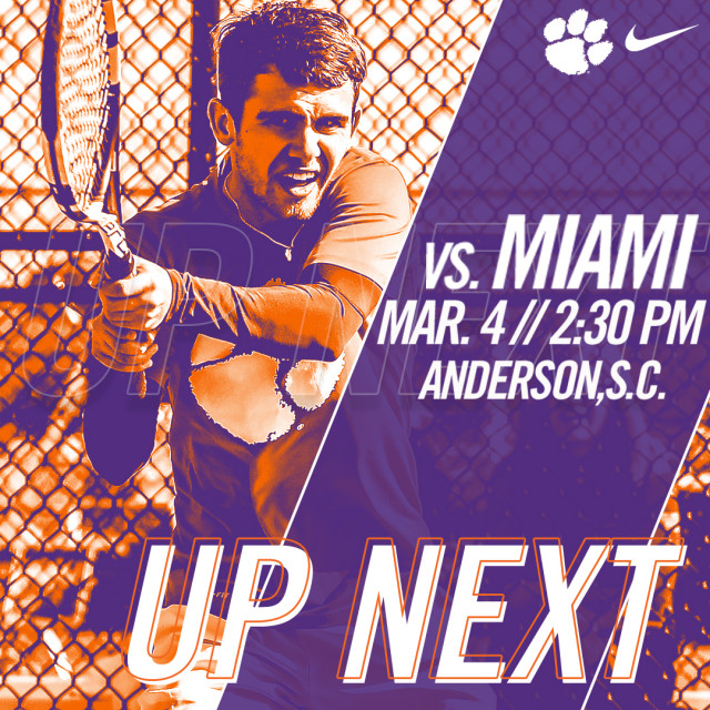 Tigers Host Hurricanes Sunday at AU Tennis Center