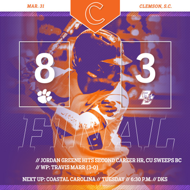 Tigers Sweep BC With 8-3 Win
