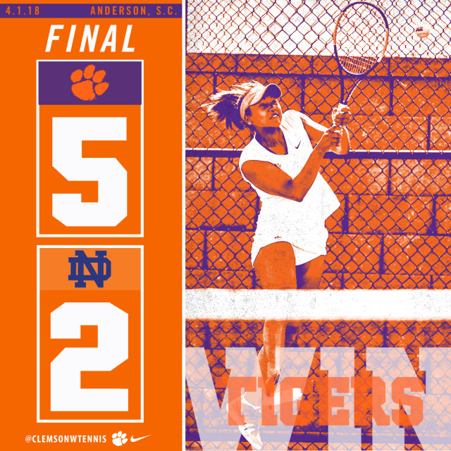 Tigers Defeat Notre Dame 5-2 Sunday in Anderson, SC