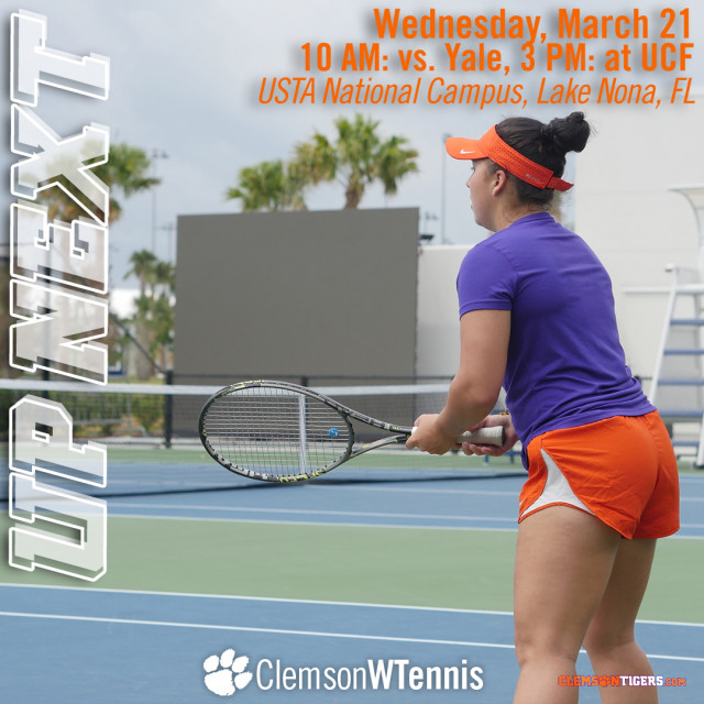 Tigers Play Yale & UCF at USTA National Campus Wednesday