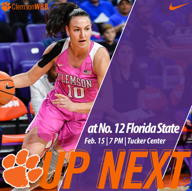 Clemson Travels to Tallahassee to Face No. 12/12 FSU Thursday