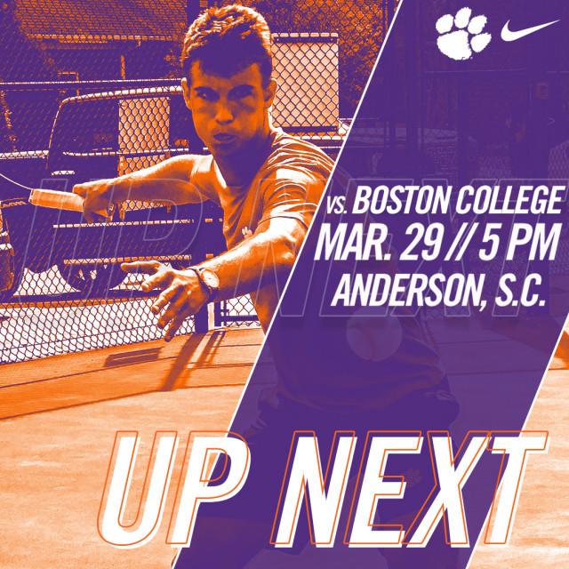 Clemson Hosts Boston College Thursday at AU Tennis Complex
