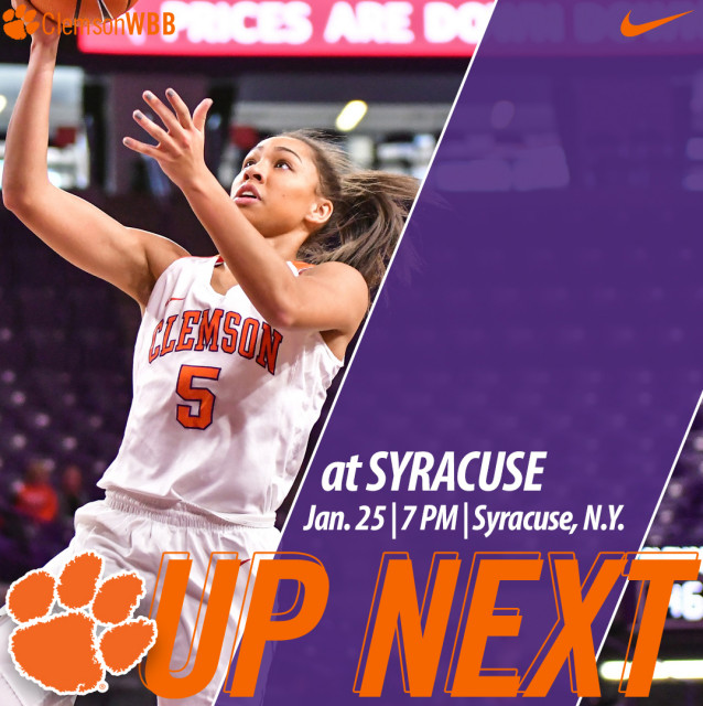 Clemson Travels to Syracuse for Thursday Night Game