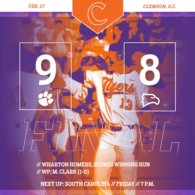 Tigers Walk Off With 9-8 Win Over Winthrop in 10