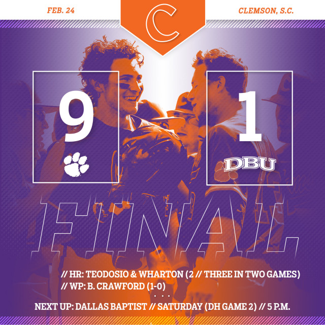 Tigers Down No. 10 DBU 9-1 in Game 1 of DH