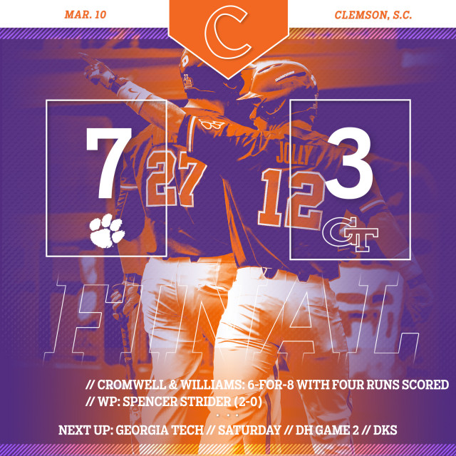 Clemson Defeats GT 7-3 in Game 1 of DH