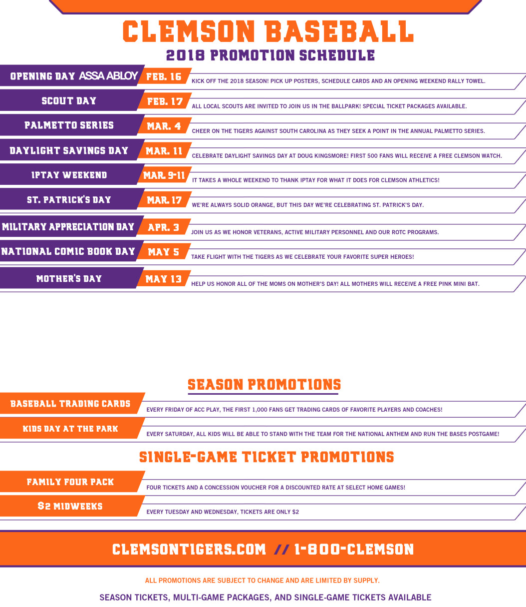2018 baseball promotions clemson tigers official athletics site