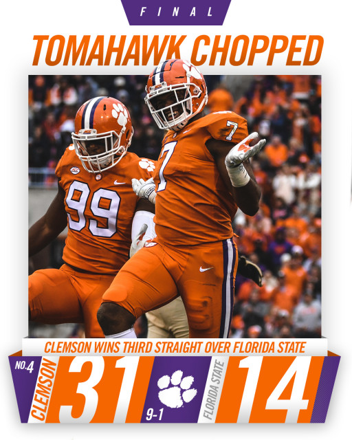 No. 4 Clemson Clinches ACC Championship Game Berth With 31-14 Win Over FSU