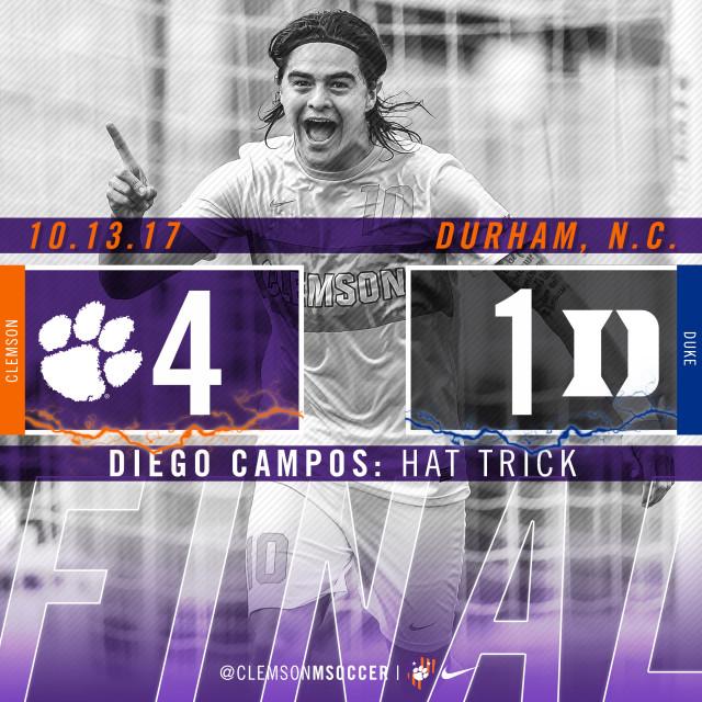 Campos' Hat Trick Powers No. 11 Clemson Past No. 16 Duke 4-1