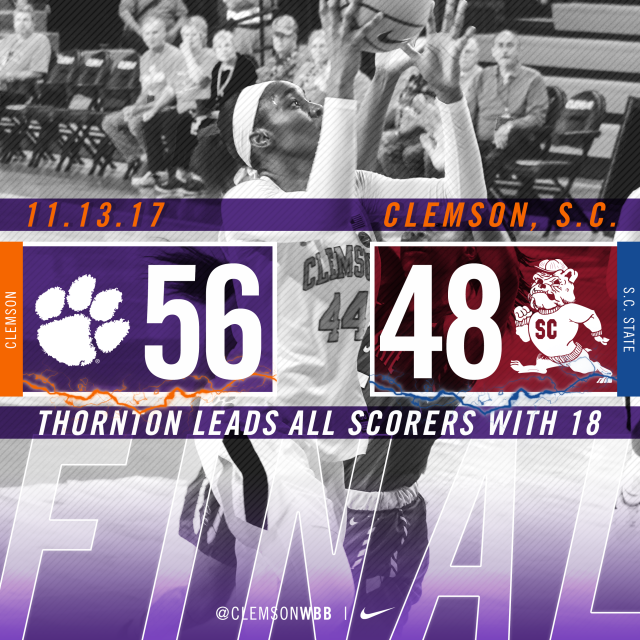 Thornton & Edwards Fuel Clemson's Win over S.C. State Monday