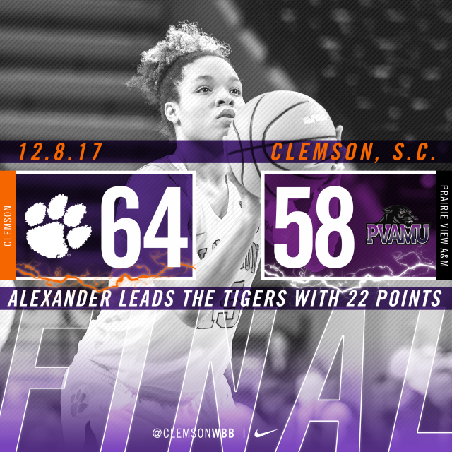 Alexander's Career High, Tigers' 13 Blocked Shots Lead to Win Over Prairie View A&M