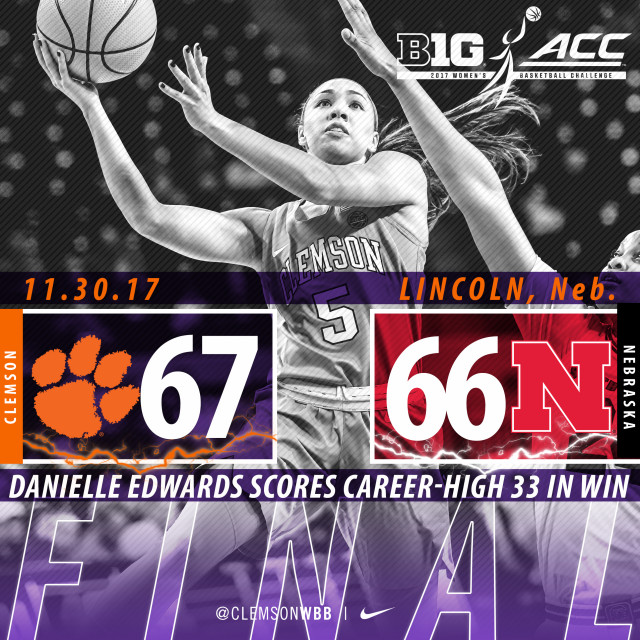 Edwards' Career High Leads Tigers to Thrilling Win at Nebraska