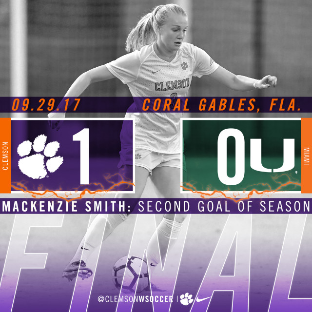 Clemson Controls Miami, Earns First ACC Victory