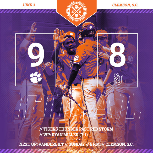 Tigers Rally Past No. 20 Red Storm 9-8