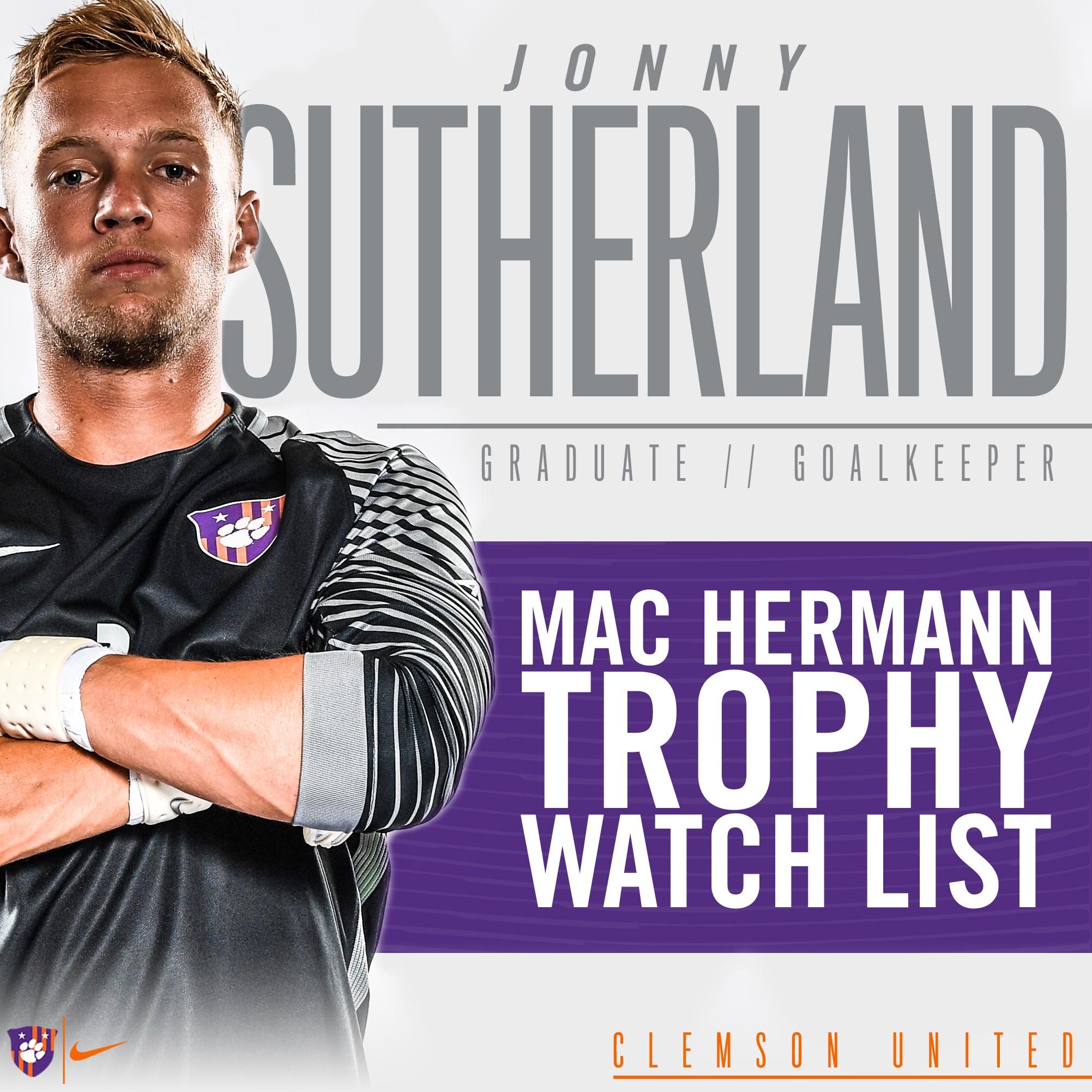 Sutherland Named to MAC Hermann Trophy Watch List