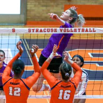Bailey Tallies Match-High 16 Kills in Loss at Syracuse Sunday