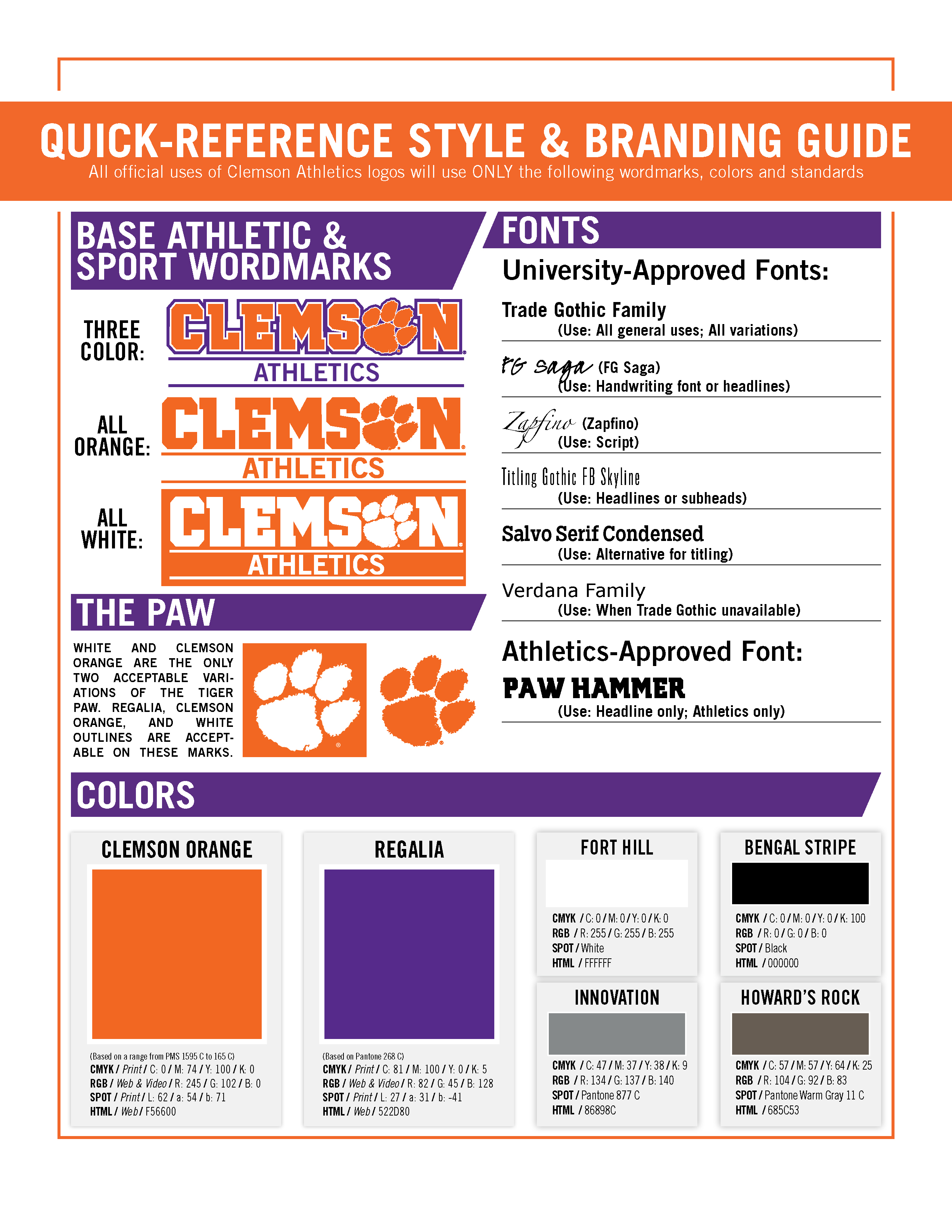 Athletics Guide Tigers – Clemson Clemson Official Style