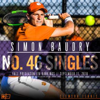 Baudry Ranked No. 46 in Fall Preseason Singles Poll