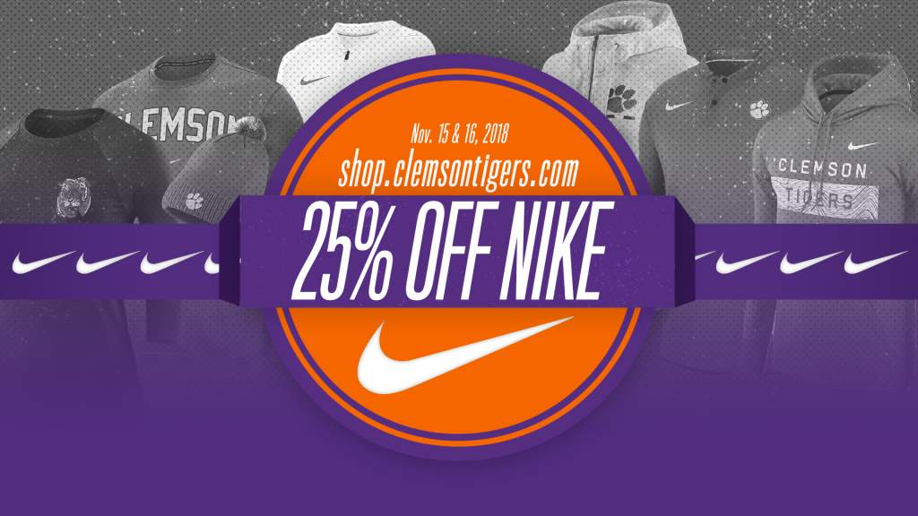 25% Off NIKE-Clemson Apparel!