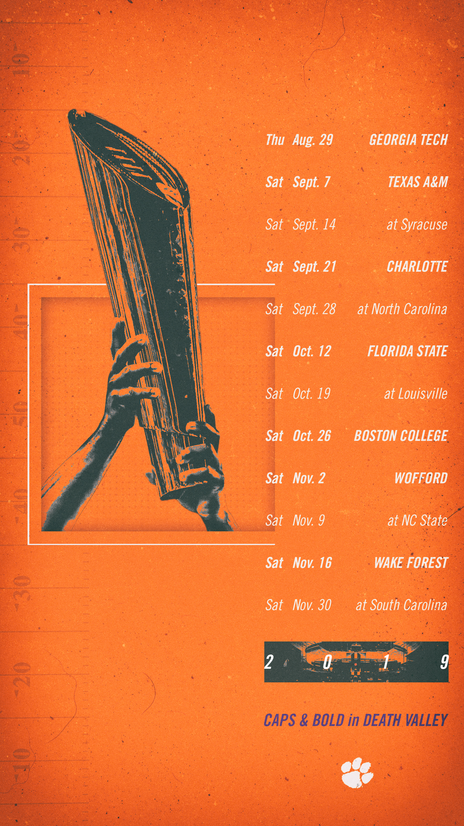 Clemson Calendar 2019 Clemson Announces 2019 Football Schedule – Clemson Tigers Official