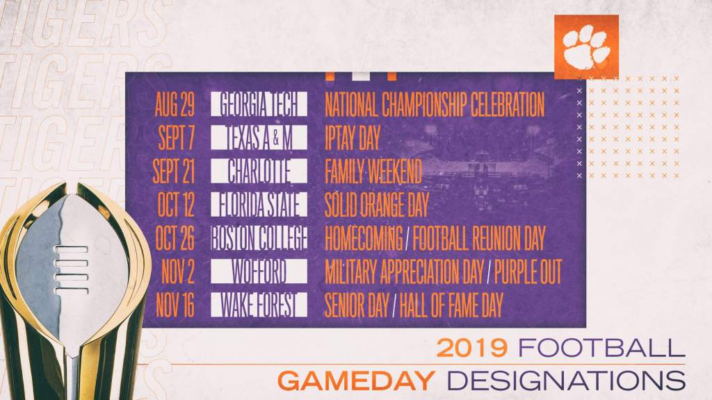 Clemson Announces 2019 Football Gameday Designations