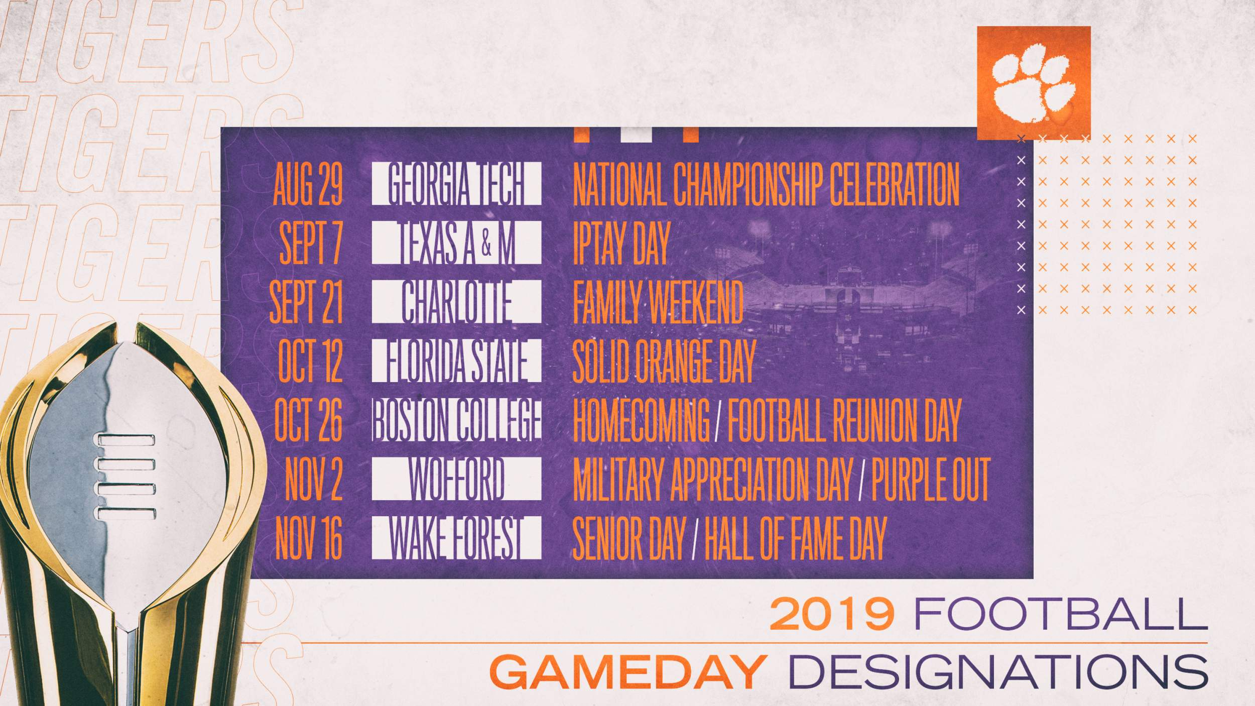 Clemson Calendar 2020 Clemson Announces 2019 Football Gameday Designations – Clemson