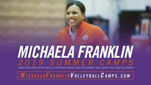 Play video: Register Now at MichaelaFranklinVolleyballCamps.com