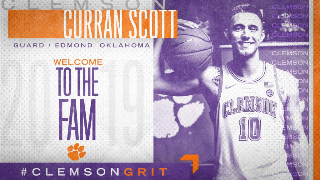 Clemson Adds Curran Scott as a Graduate Transfer for 2019-20
