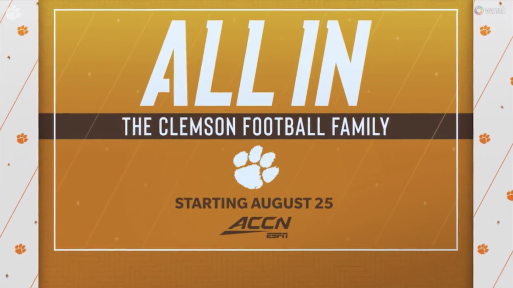 "ACCN to Debut ""All In: The Clemson Football Family"" on Aug. 25"