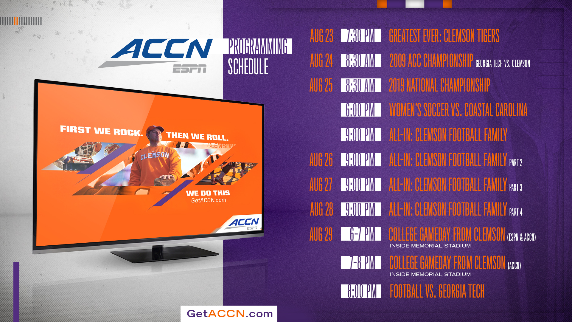 The ACCN is Coming Aug  22 – Clemson Tigers Official