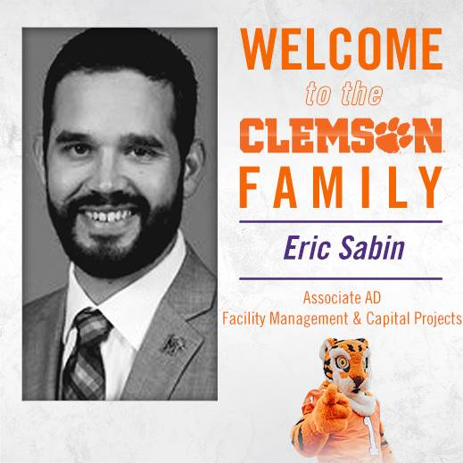 Eric Sabin Joins Clemson as Associate AD for Facilities Management & Capital Projects