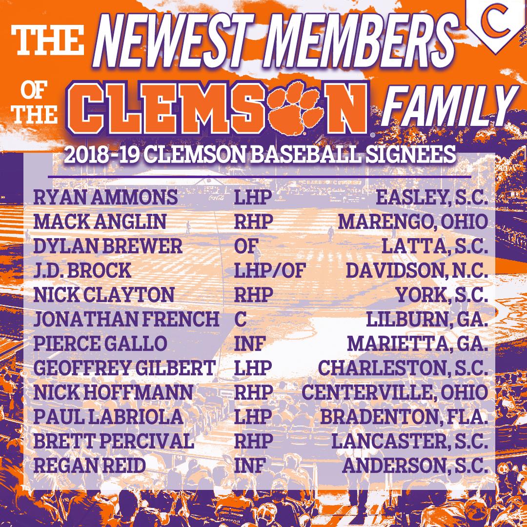 Clemson Announces Signing Class