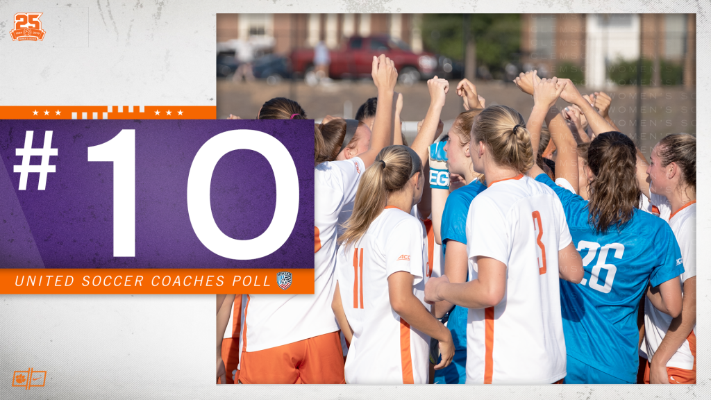 Clemson Soars Up To No.10 In United Soccer Coaches Poll