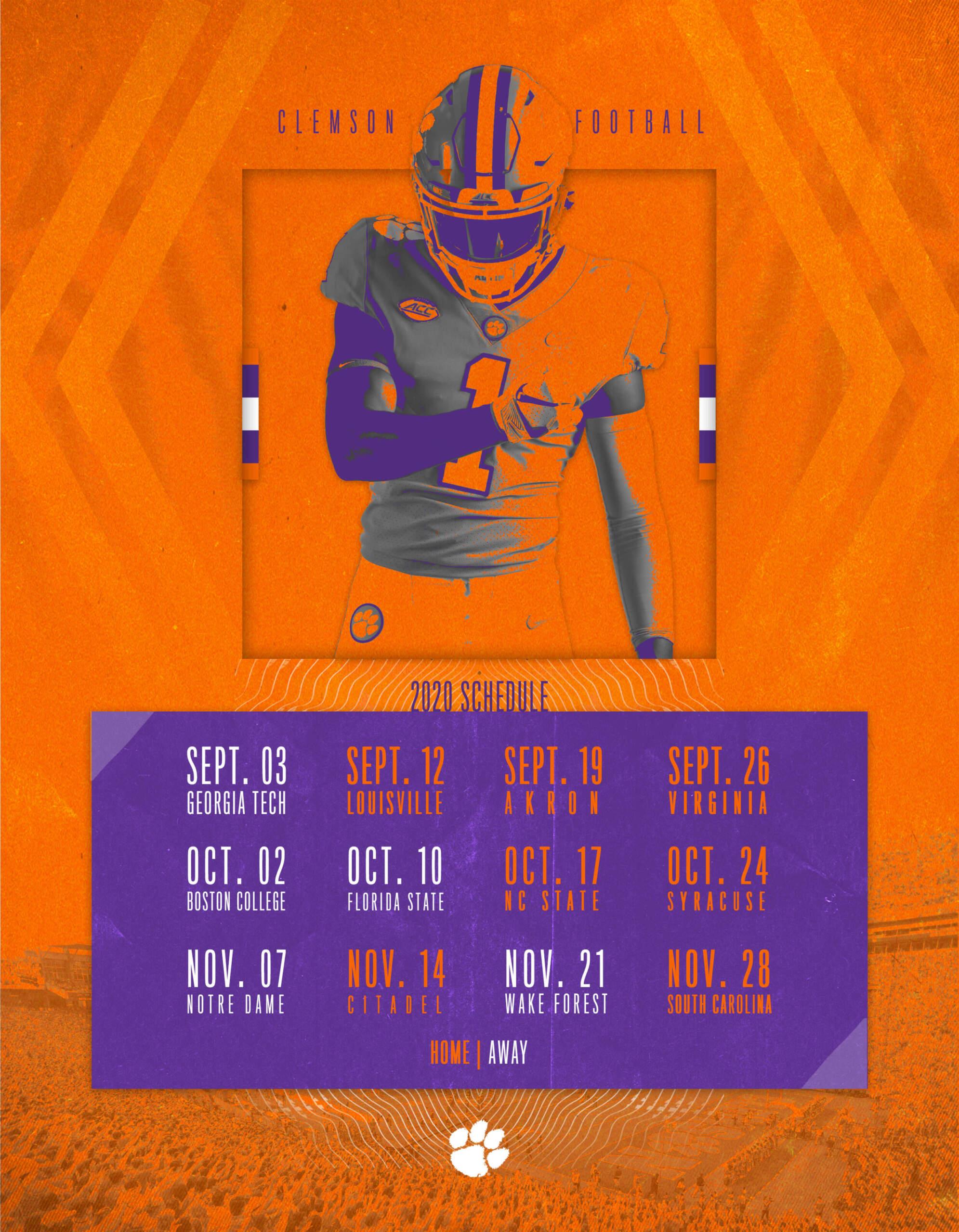 Clemson Calendar Fall 2021 Clemson Announces 2020 Football Schedule – Clemson Tigers Official