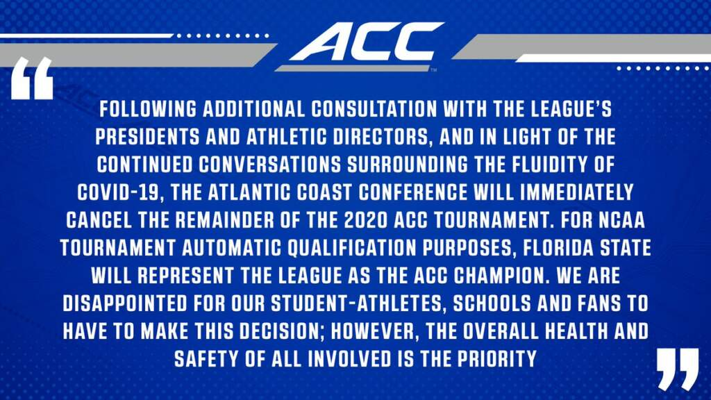 Statement from ACC on Men's Basketball Tournament