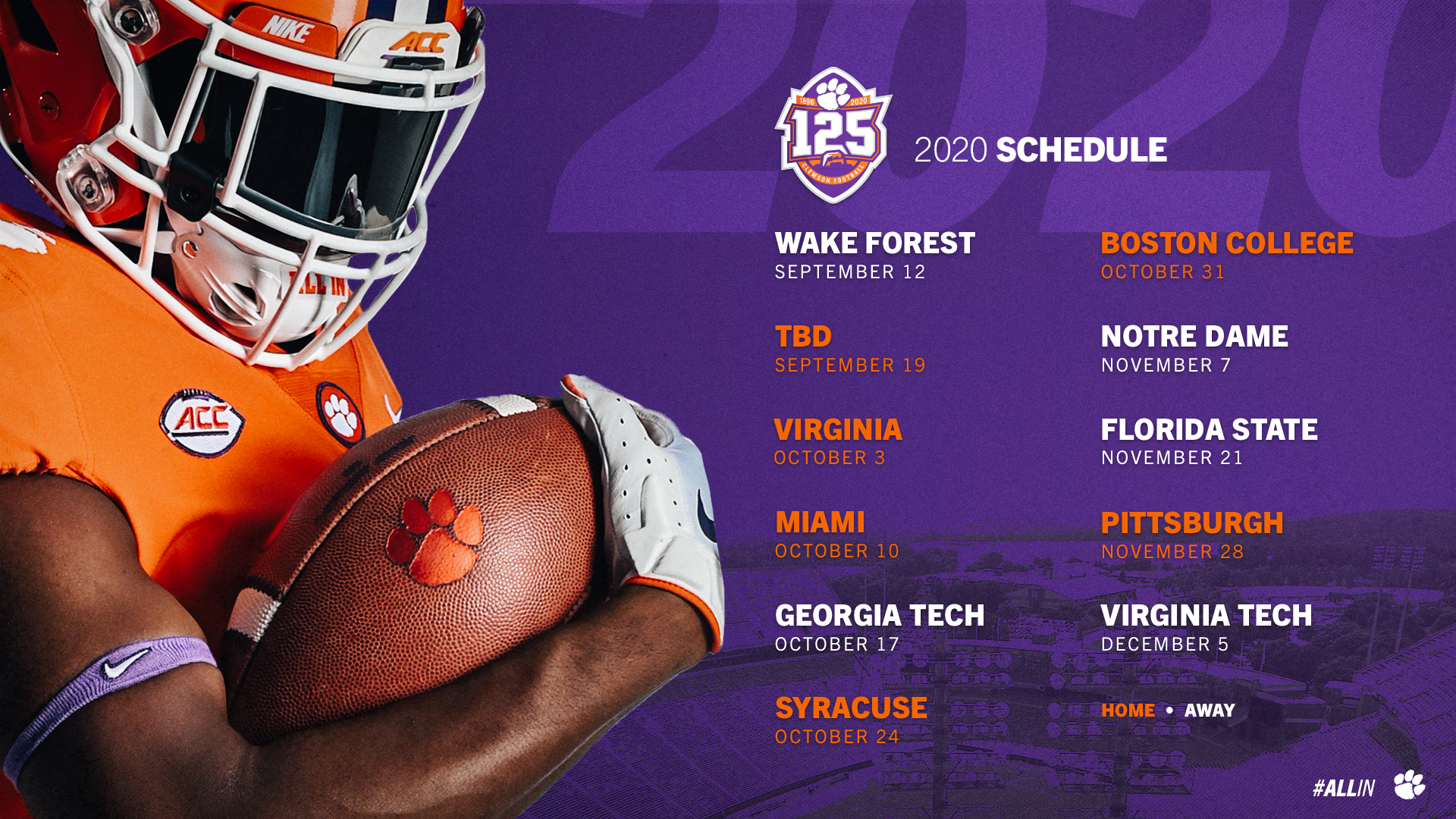 Updated 2020 Football Schedule Announced Clemson Tigers Official Athletics Site