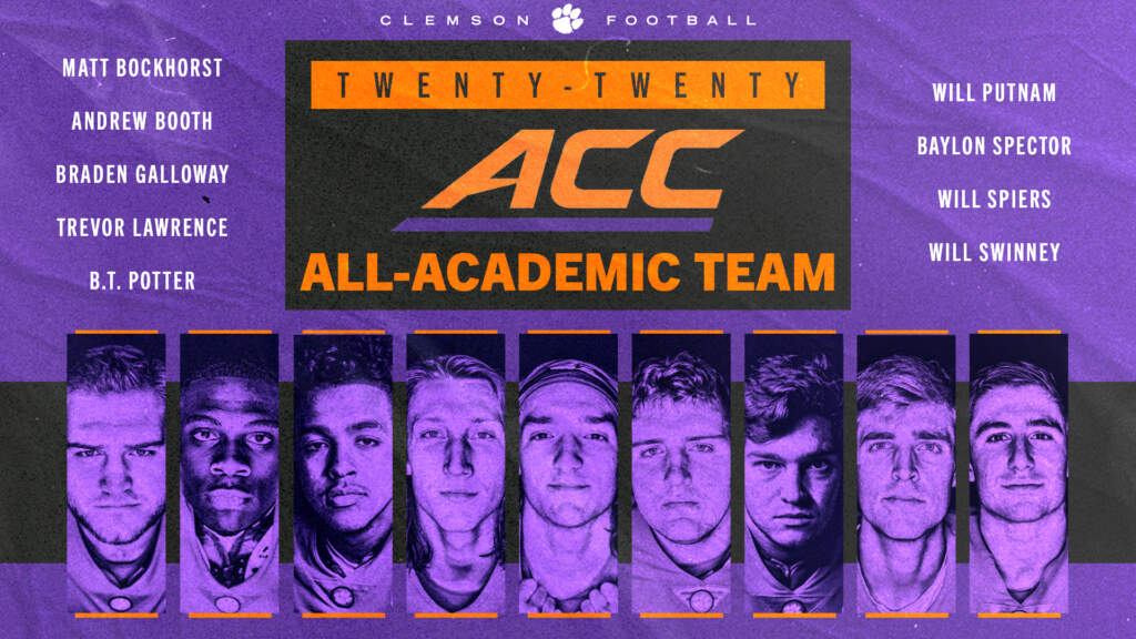 Clemson Places Program-Record Nine Players on All-ACC Academic Team