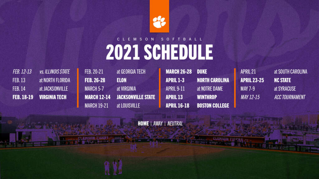 Clemson Announces 2021 Softball Schedule
