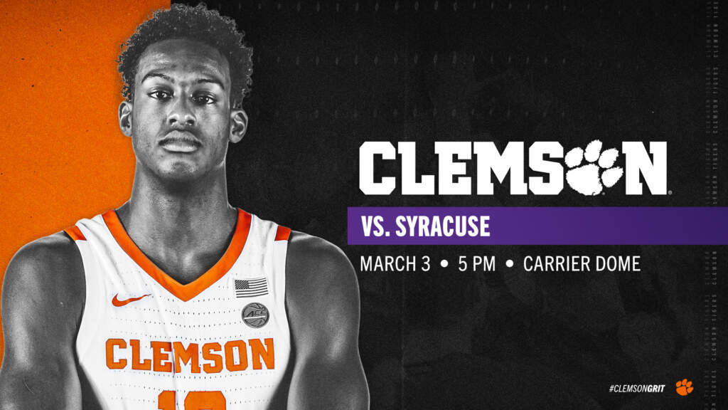 Clemson Fills Open Date with Game at Syracuse on March 3